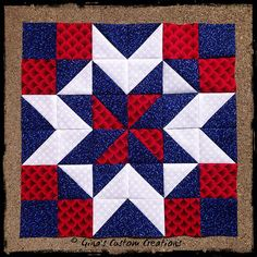 """Another Nine Patch Star"" block.Part of the Tuesday Quilters star BOM. Flag Quilt, Patriotic Quilts, Star Quilt Blocks, Star Quilts, Patch Quilt, Mini Quilts, Blue Quilts, Quilt Square Patterns, Barn Quilt Patterns"