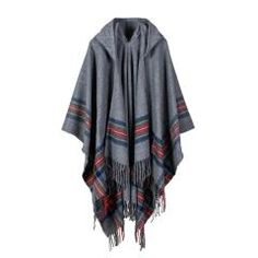 Buy Women's Hooded Stripe Poncho Cape Loose Fit Tartan Shawl Wrap Tassel Long Cardigans - Grey - and Many Other Latest Designer Hats & Scarves, Enjoy Free and Fast Delivery. Blanket Poncho, Poncho Shawl, Knitted Poncho, Kimono Cardigan, Oversized Cardigan, Poncho Outfit, Plaid Blanket, Long Cardigan, Cashmere Pashmina