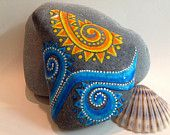 Day at the Beach / painted rock / Sandi Pike Foundas / beach stone from Cape Cod