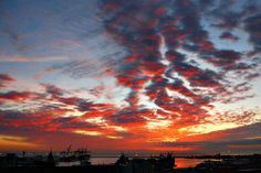 Sunrise over Port Elizabeth harbour, South Africa.
