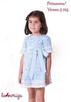 vestido azul estampado cashmere con lazo azul laormiga