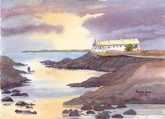 Watercolour Print....Cottages St Bride's by Pamelajonesartstudio, £5.00