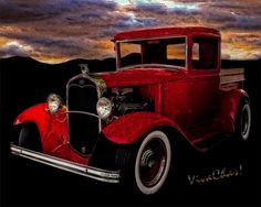 Red 32 Ford Pickup Tin Sign Homage Ready to be Printed on Metal - Hot Rod Art Prints from VivaChas at Hot Rodney Hot Rods where street rods hang on the wall ~:0) VivaChas!