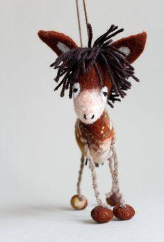 Theodor - Felt Donkey. Art Toy.  Marionette, Puppet, Felt Toys, Felted Animals Christmas gift.  brown orange  beige green. READY TO SHIP.