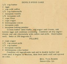 Roots From The Bayou: Family Recipe Friday - Devil's Food Cake Retro Recipes, Old Recipes, Vintage Recipes, Cookbook Recipes, Baking Recipes, Cake Recipes, Dessert Recipes, Recipies, Frugal Recipes