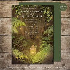 Enchanted Forest Fairy Tale Wedding Invitation, Summer Nights Dream Secret Forest Garden Lights Firefly Wedding Invitation, PRINTABLE Invite