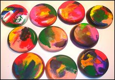 """crayon crafts used to do this with my kids. all the broken crayons are recycled to make """"new"""" ones."""