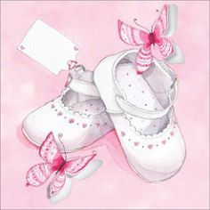 Pink Baby Shoes ~ Code: Presentation: Flittered and die cut, with a white 100 gsm envelope. Clipart Baby, Baby Images, Baby Pictures, Baptism Pictures, Imprimibles Baby Shower, Baby Barn, Blue Nose Friends, Baby Illustration, New Baby Cards