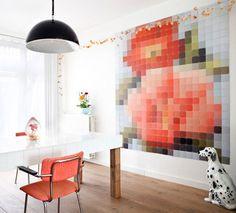 diy pixel wall art with paint swatches