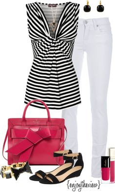 """black, white, & hot pink"" by enjoytheview on Polyvore"