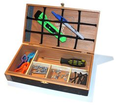DIY UPCYCLE CIGAR BOX || Repurpose an old cigar box into a simple organizer for a Father's Day gift. Materials needed: cigar box, chopsticks, ribbon or cording, glue gun like the Arrow All Purpose TR550, scissors or utility knife, ruler and pencil. This is a great homemade craft that you and your kids could tackle for the special man in your life. www.arrowfastener.com