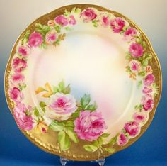 Beautiful Wallendar (Germany) 7 Plate, Pink & White Roses Transfer with Lots of Hand Painted Gold & White Accents, early - Looks like the dish Grandma brought with her from Germany. My daughter has it. Vintage Cups, Vintage Plates, Vintage China, Antique China, Vintage Glassware, Antique Dishes, Vintage Dishes, Antique Plates, China Plates