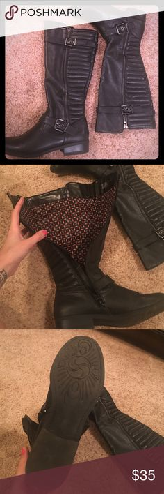 Faux black leather boots Gently worn black boots with buckles and zippers on each side. Shoes Winter & Rain Boots
