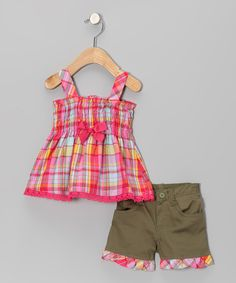 Green & Pink Plaid Tunic & Shorts - Infant by Young Hearts #zulily #zulilyfinds