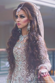 Photo by:Memoirz beautiful long curly hair, cream silver indian bridal dress