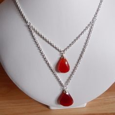 Red Onyx two drop necklace