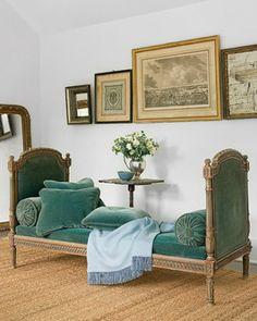 green/blue velvet daybed