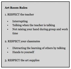 Rules for the art room Art Classroom Posters, Art Room Posters, Classroom Management Strategies, Class Management, Behavior Management, Management Tips, Classroom Organization, Classroom Ideas, Classroom Rules