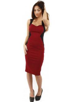Vesper Mimi Wine & Black Cross Back Pencil Dress #vesper #midi