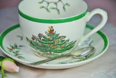 Vintage Copeland  Spode Christmas Tree Tea Cup and by DadsTeacups, etsy