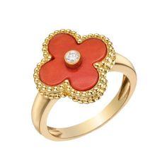 "Van Cleef & Arpels 18k Gold & Red Coral ""Vintage Alhambra"" Ring"