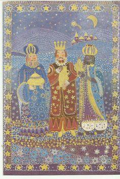 Imagen de la Adoración de los reyes al Niño Dios en tarjeta de Kiut