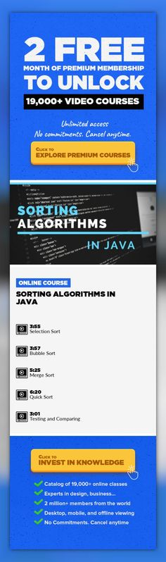 Sorting Algorithms in Java Technology, Engineering, Game Development, Java, Software, Interviewing, Projects, Data Science, Programming Foundations #onlinecourses #CoursesBudget #onlinetrainingtips   I will show you how Sorting aglorithms are actualy implemented This course is extension to my theoretical course on sorting algorithms where i go through the ideas of these algorithms. So if you haven...