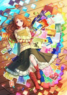 Imagen de anime, anime girl, and book