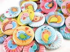 30 Sweet Love Birds and Hearts - Pinback Buttons - Pin Back Badge - Wedding Favors. $12.00, via Etsy.