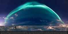 Under the Dome Photographer Sigurdur William Brynjarsson stitched together a panoramic image of a glittering blue aurora borealis floating over lava fields called Hvassahraun in Iceland, just outside the country's capital. Northern Lights, Night Sky Photos, Star Trails, Light Pollution, Panoramic Images, Natural Phenomena, Night Photography, Photo Contest, Night Skies