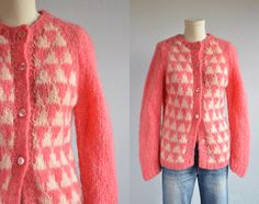 Vintage Mohair Cardigan / 1960s Patterned Hand Knit Wool Cardigan Made in Italy Pink Cream by zestvintage on Etsy