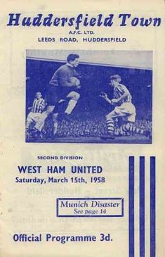 58_03_15 Huddersfield Town v. WHU Football Program, Football Cards, Huddersfield Town Fc, Leeds Road, United Games, Rotherham United, Doncaster Rovers, Leyton Orient, Charlton Athletic
