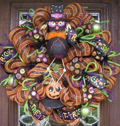 Deco Mesh HALLOWEEN HOOT OWL Wreath by decoglitz on Etsy