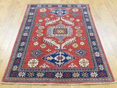 "Buy 3'3""x5'2"" Handmade Pure Wool Geometric Design Kazak Red Oriental Rug moaCA7E8 #red-rugs #rug-sale #rug-store #handmade-rugs #wool-rugs #cotton-rugs"