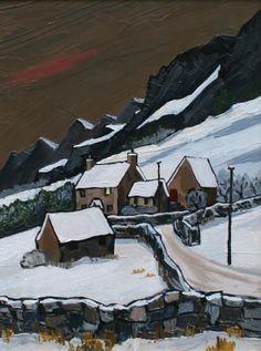 British Artist David BARNES-Farm in the Carneddau