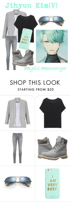 """""""Jihyun Kim(V) from Mystic Messenger"""" by kayxiv1256 ❤ liked on Polyvore featuring Miss Selfridge, True Religion, AG Adriano Goldschmied, Timberland, Ray-Ban and ban.do"""