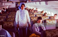 Interior view of a Turkish Airlines airplane, in Istanbul, Turkey, November, 1973.  (Photo by Morse Collection/Gado/Getty Images).