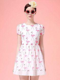 White Swan Print Short Sleeve Skater Dress | Choies