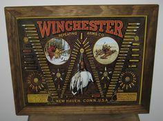 Framed Vintage Style Tin Sign, Winchester Bullet board. guns, hunting, 2nd amendment, man cave, USA, garage decor, wall hanging