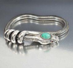 Art Deco Silver Snake Bracelet Ruby Gemstone Eyes Green Egyptian Vintage Art Deco Jewelry Armband on Etsy, $650.00