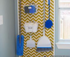 Hang laundry supplies (and brooms and mops, too), on a pegboard for easy access. Paint on a chevron pattern before installing to turn the board into fully functional wall art. See more at The Posh Space Broom Closet Organizer, Small Closet Organization, Organization Hacks, Large Laundry Rooms, Laundry In Bathroom, Laundry Area, Organizar Closet, Bedroom Cupboard Designs, Baby Room Decor
