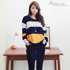 Buy 'Stylementor – V-Neck Color-Block Knit Top' with Free International Shipping at YesStyle.com. Browse and shop for thousands of Asian fashion items from South Korea and more!