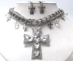 New ladies Crystal earring cross clear set a must have