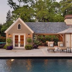 terrible example, but just an idea to attach house +pool house with covered outdoor area?