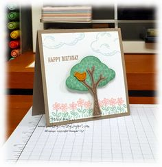 Mindy's sweet little card: Sprinkles of Life and its matching Tree Punch - all from Stampin' Up!