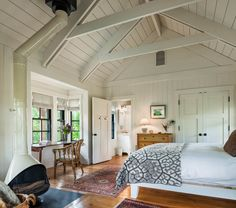 Farmhouse Home Style and Design Farmhouse Master Bedroom Wide Plank Floors Exposed Trusses Board Wal Farmhouse Style Bedrooms, Farmhouse Master Bedroom, Attic Master Bedroom, Country Bedrooms, Up House, Tiny House, Farm House, Style At Home, Vaulted Ceiling Bedroom