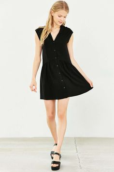 COPE Feminine Button-Front Shirt Dress - Urban Outfitters