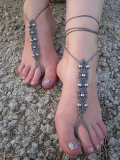Free Shiping! Macrame Barefoot Sandals Foot Jewelry Foot Acessories Beach Summer