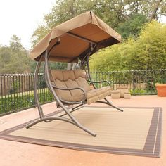 Patio Swing With Canopy Porch Outdoor For Adults Lawn Set Bed Yard ...