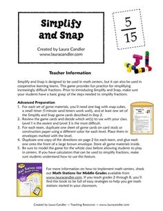 Simplify and Snap is a fun game for reviewing the basic skill of simplifying fractions. Students can play the game with a partner, in math centers,...